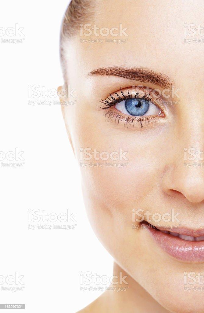 Blue eyed female smiling stock photo