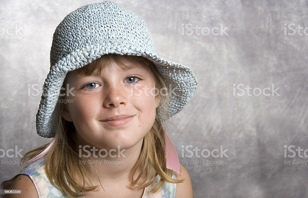 Blue Eyed Girl with a  Hat and Copy Space royalty-free stock photo