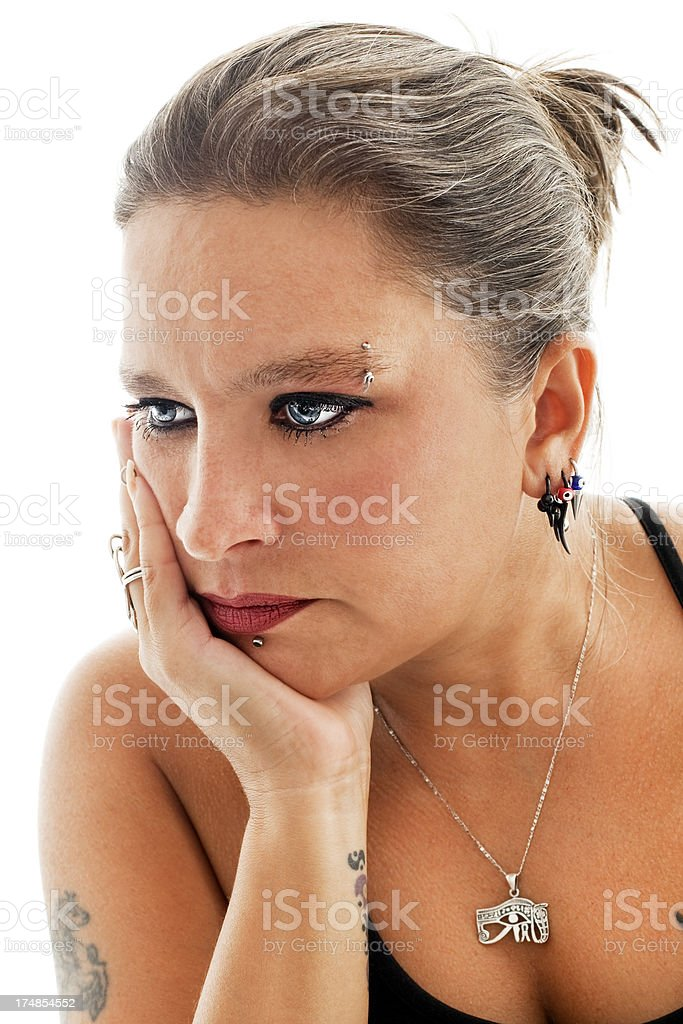 Blue eyed woman is thinking royalty-free stock photo