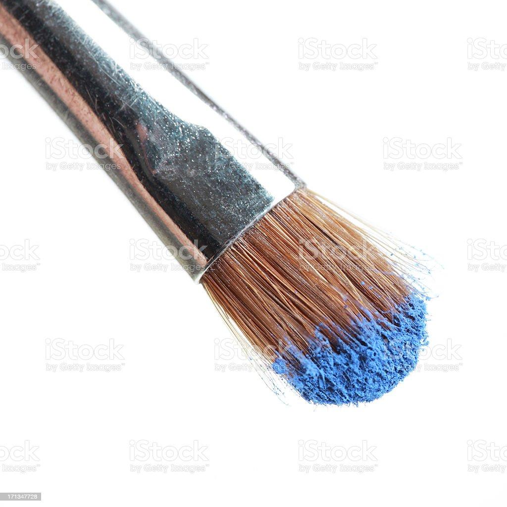 Blue Eyeshadow on Makeup Brush stock photo