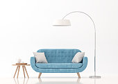 Blue fabric sofa on white background 3d rendering image