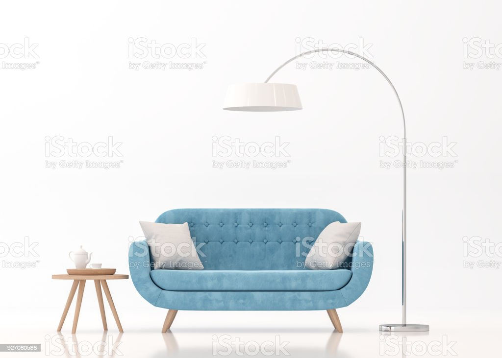 Blue fabric sofa on white background 3d rendering image stock photo