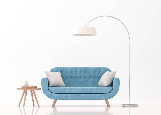 sofá de tela azul en renderizado 3d de fondo blanco - sofá fotografías e imágenes de stock