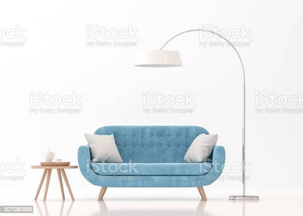 Blauwe Weefsel Sofa Op Witte Achtergrond 3d Rendering Beeld Stockfoto en meer beelden van Appartement