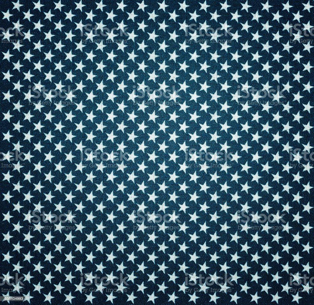 Blauer Stoff mit weißen Sternen mit vignette-Effekt – Foto