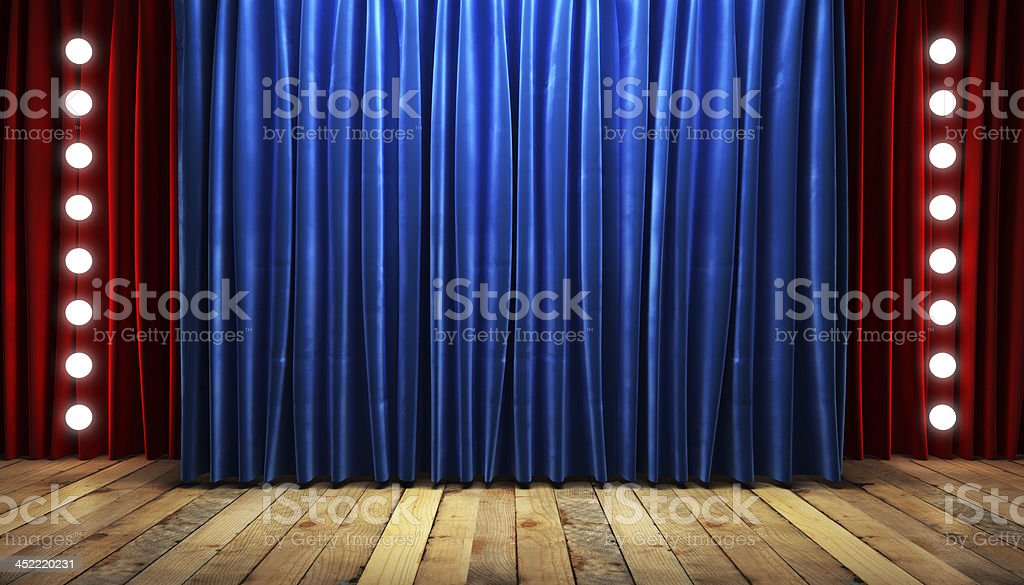 blue fabrick curtain on stage stock photo
