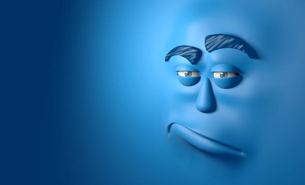 blue face unhappy - sad cartoon images stock photos and pictures