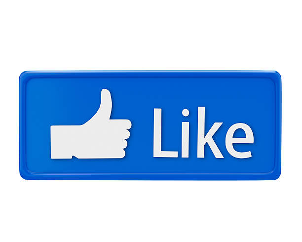 Blue Facebook like button with a white hand and text stock photo