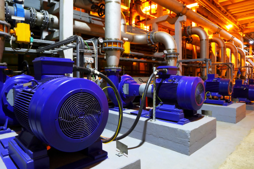 Electric motors of pumps at plant