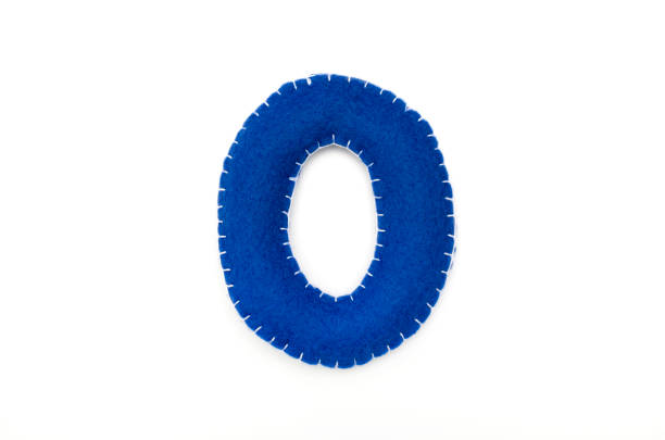 blauer filz ziffer 0 - filzunterlage stock-fotos und bilder