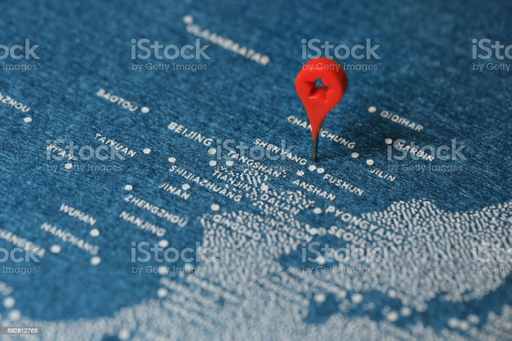 blue felt paint map for travel, china stock photo