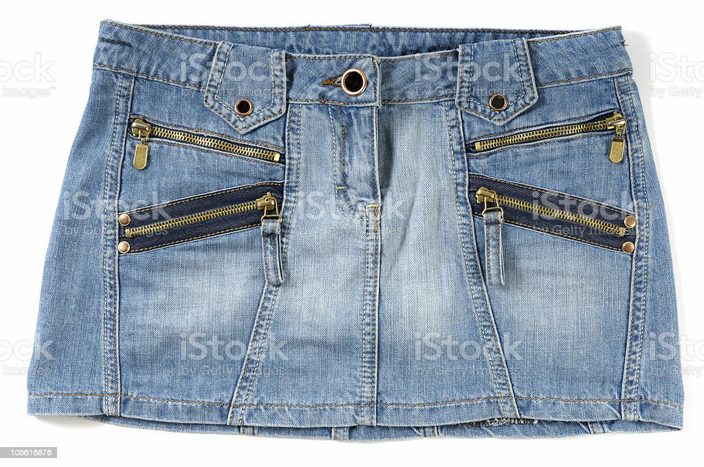 Blue female jeans mini skirt royalty-free stock photo
