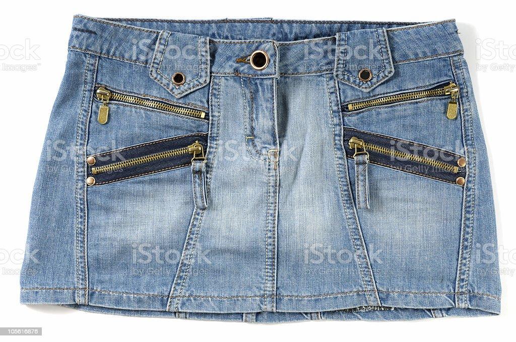 Blue female jeans mini skirt stock photo