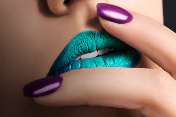 blue female lips - milan2099 stock photos and pictures