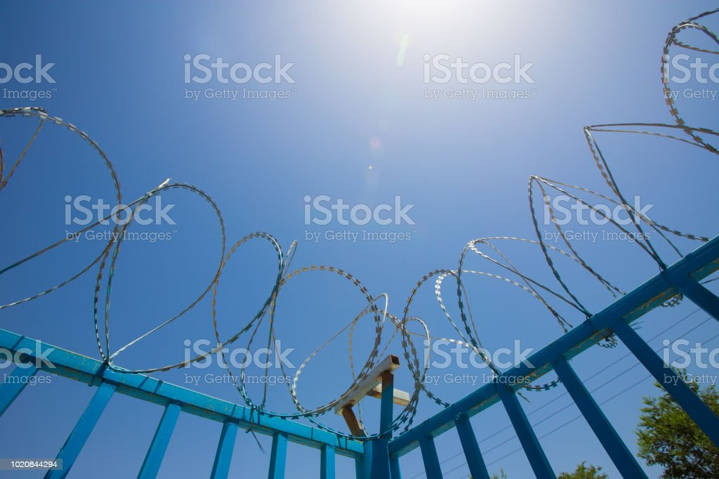 Blue Fence Made Of Wire With Spikes On Top Stock Photo - Download