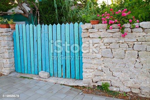 istock Blue fence 519868679