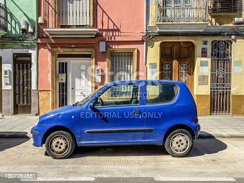 Valencia, Spain - March 13, 2021: Blue Fiat car model Seicento SX parked in the street. The Italian manufacturer produced this car from 1997 to 2010