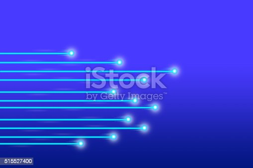 istock Blue fiber optic cables with light, network technology concept 515527400