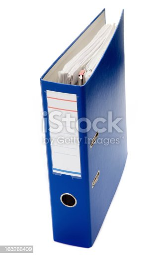 Blue file isolated on white