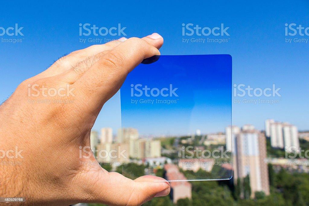blue filter stock photo