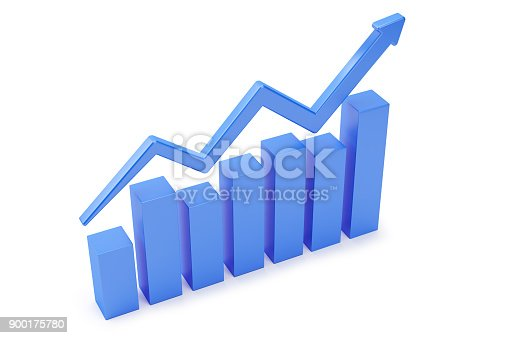 istock Blue Finance Graph Isolated On White Background. 900175780