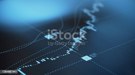 Blue financial graph background. Selective focus. Horizontal composition with copy space. Stock market and finance concept.