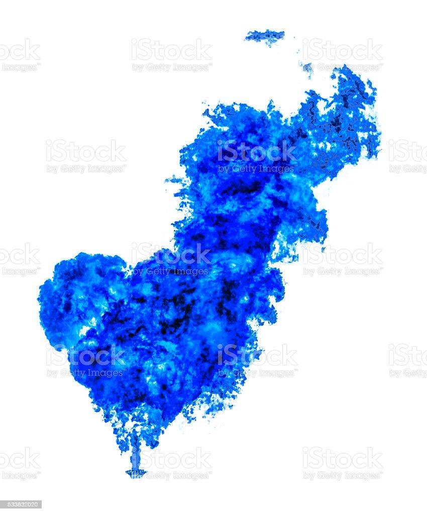 Fuoco Blu Cuore Solo Su Sfondo Bianco Fotografie Stock E Altre