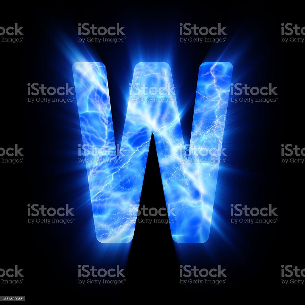 Blue fire letter. W. stock photo