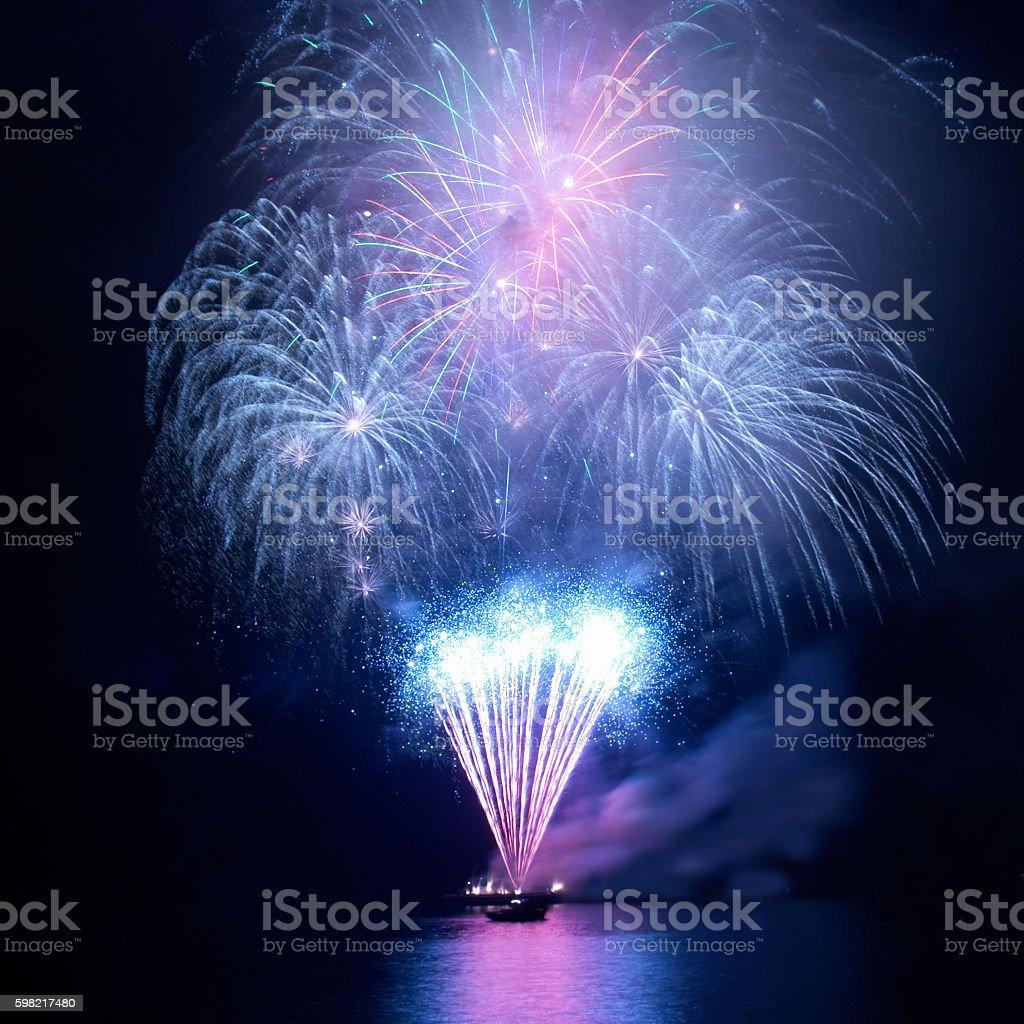 Blue fireworks stock photo