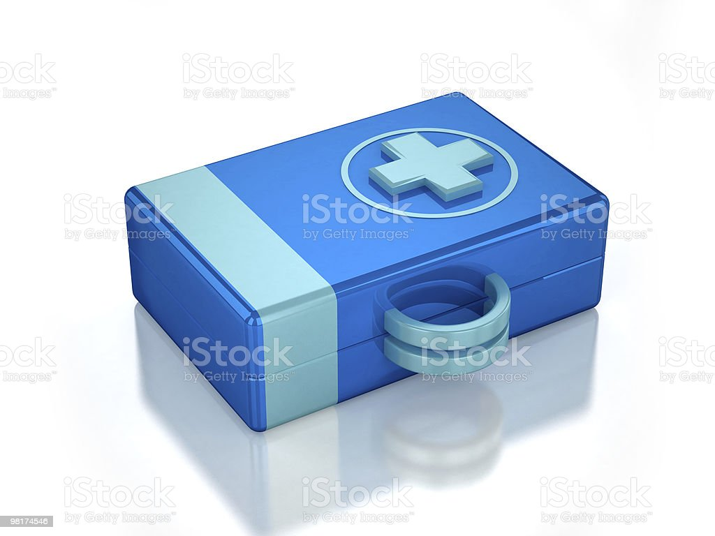 3D blue first aid kit royalty-free stock photo