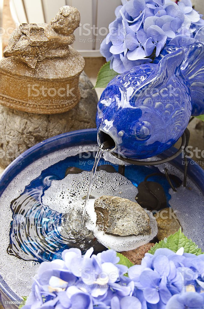Blue Fish Fountain royalty-free stock photo