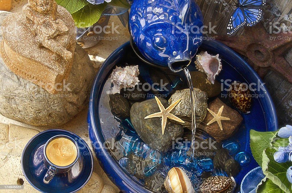 Blue Fish Fountain stock photo