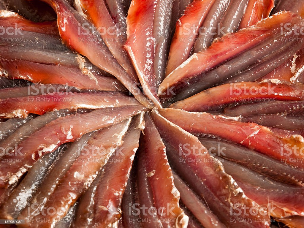 Blue fish (anchovies) raw filles stock photo