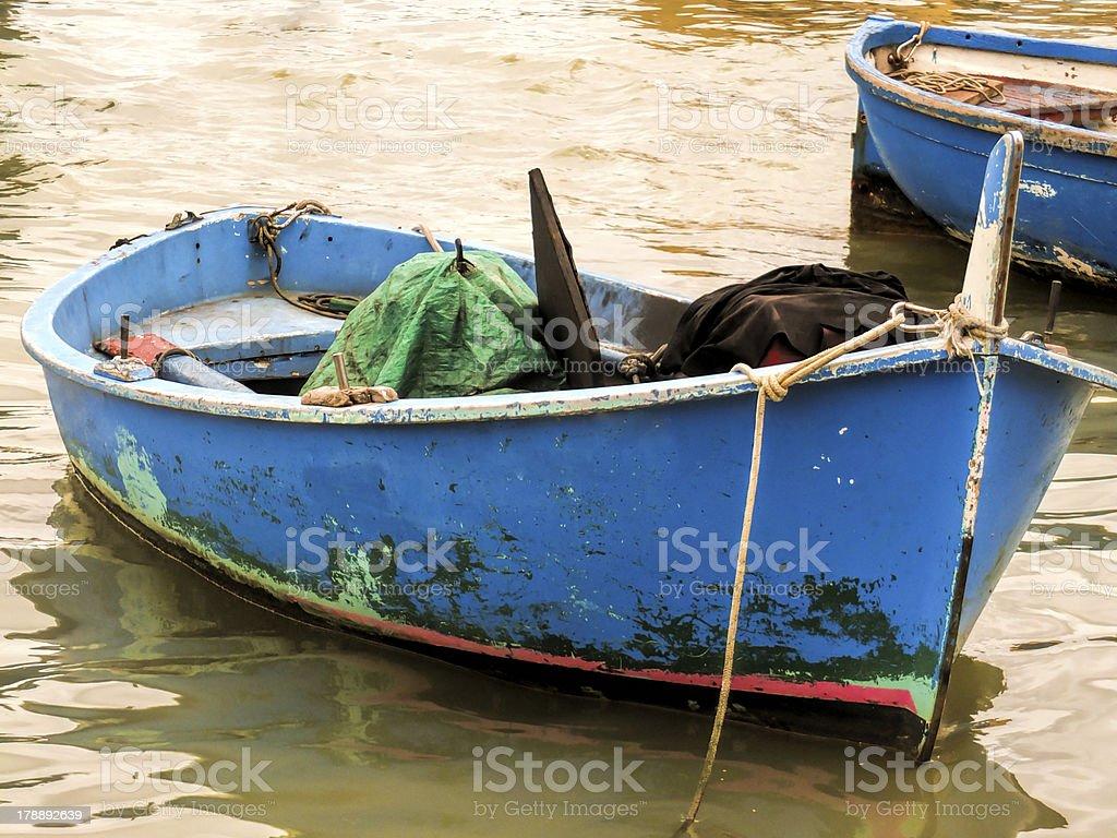 blue fishing boat royalty-free stock photo