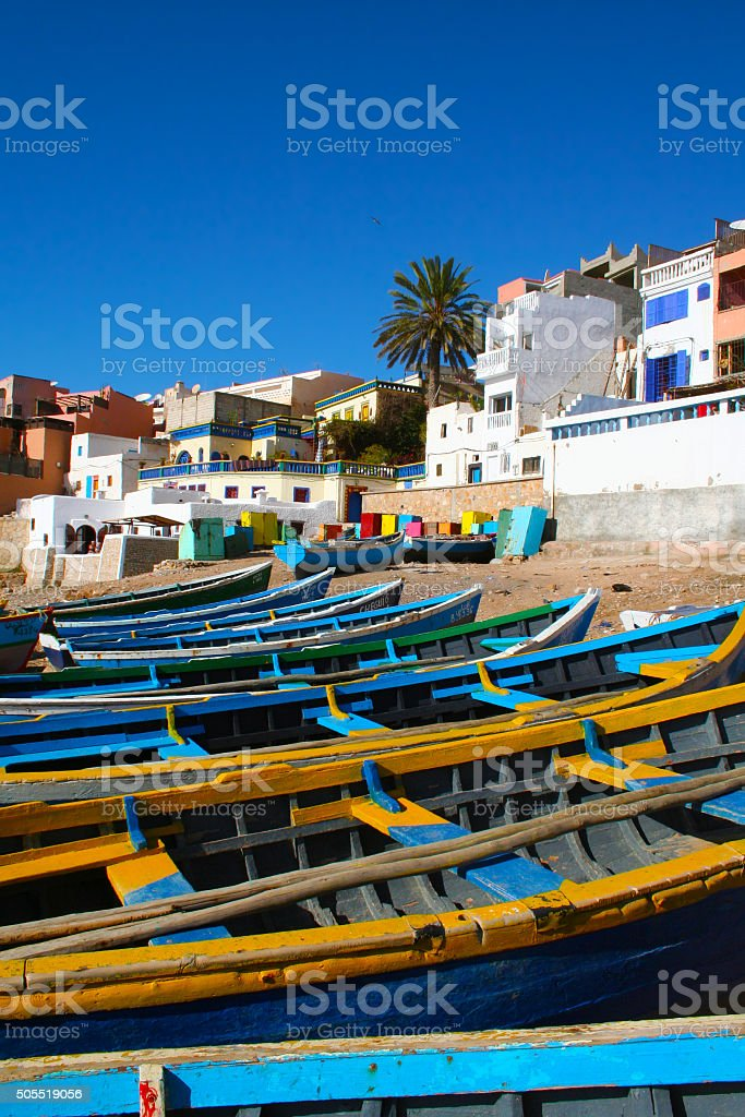 Blue fishing boats in Ahrud near Agadir, Morocco stock photo