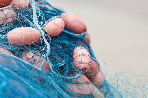 Blue fishing nets with floats.
