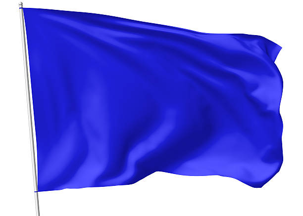 Blue flag on flagpole stock photo