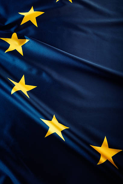 Blue flag with yellow stars of the European Union stock photo