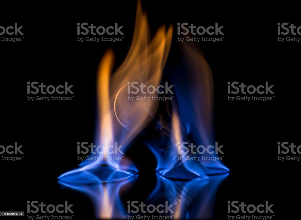 Blue flame bulb stock photo