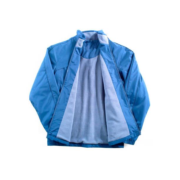 blaue fleece jacke gefüttert - fleecepullover stock-fotos und bilder
