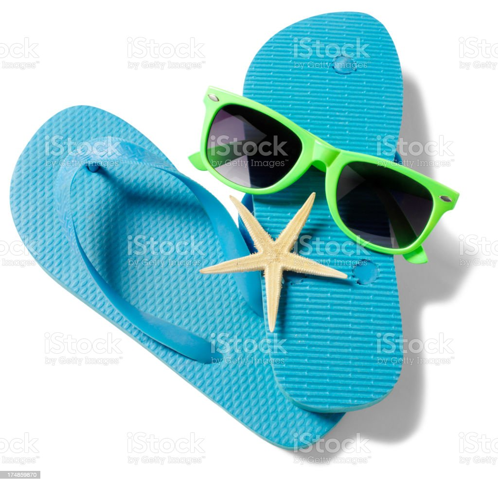 Blue Flip Flops and Green Sunglasses stock photo