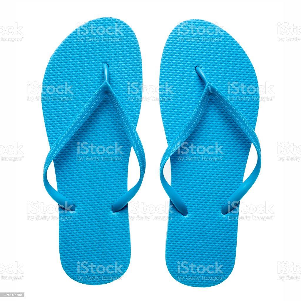 Blue flip-flops isolated stock photo