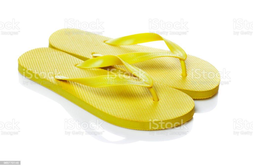 Blauwe slippers geïsoleerd - Royalty-free Beschrijvende kleur Stockfoto