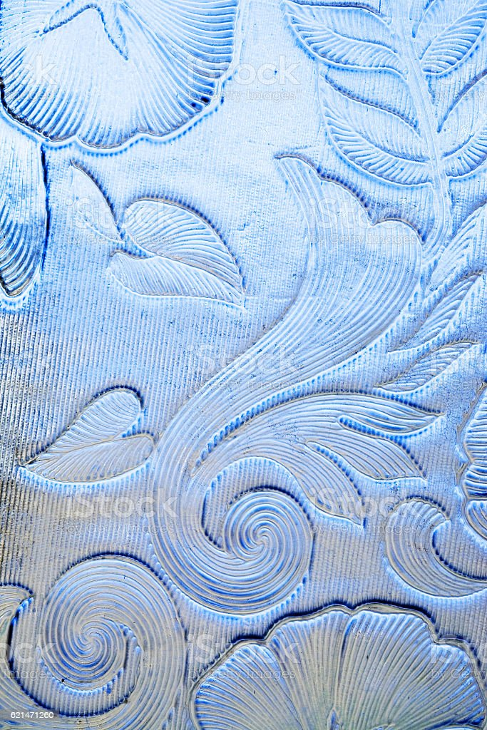 Blue floral glass stock photo