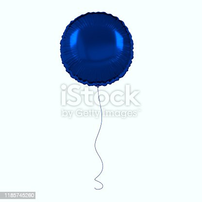 istock Blue foil balloon isolated on white background. 3d render element for birthday party, presentation. Sphere shape 1185745260