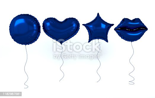 istock Blue foil balloons isolated on white background. 3d render elements for birthday party, presentation. Sphere, lips, heart and star shape 1182987581