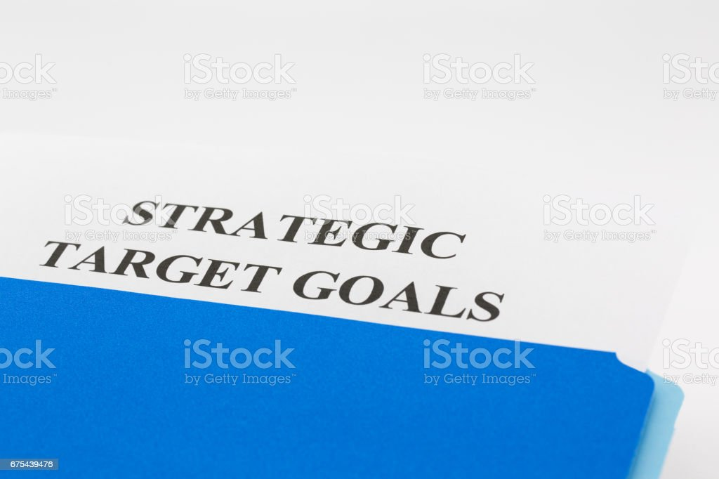Blue folder with Strategic Target Goals Report stock photo