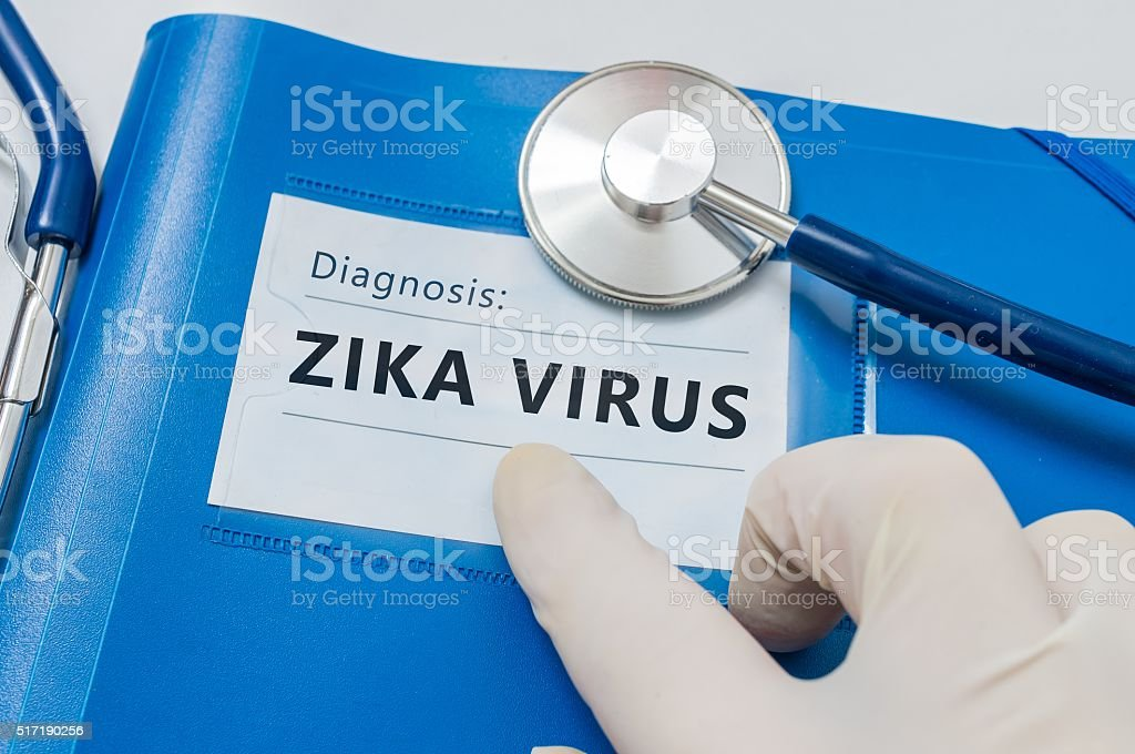 Blue folder With ZIKA Virus Diagnosis. stock photo