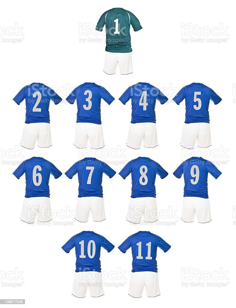 Blue Football team shirts royalty-free stock photo