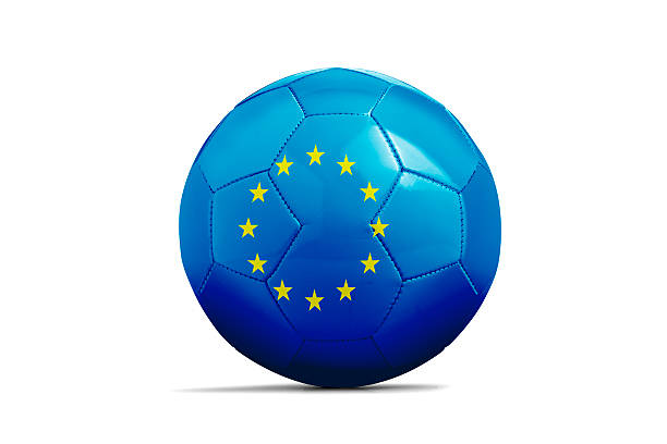 Blue football with stars stock photo